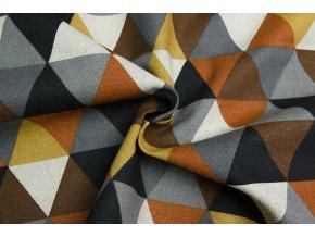 bavlna rezna trojuhelniky na hnedo horcicove