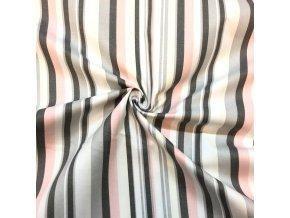 bavlnene platno sedo ruzove prouzky 1