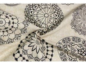bavlna rezna velke cerne mandaly na bezovem mele