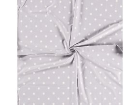 bavlneny uplet puntik bily na svetle sede1