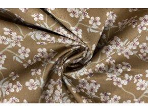bavlnene platno kvety tresni na horcicove