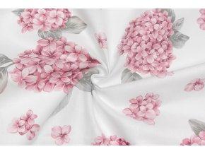bavlnene platno ruzove hortenzie
