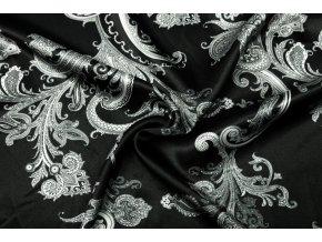 umele hedvabi silky armani bile kasmirove ornamenty na cerne