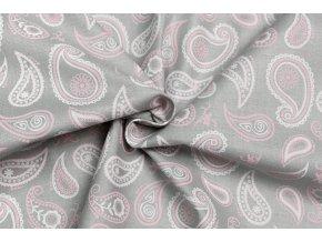 bavlnene platno kasmirovy vzor na svetle sede