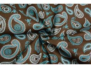 bavlnene platno kasmirovy vzor na hnede