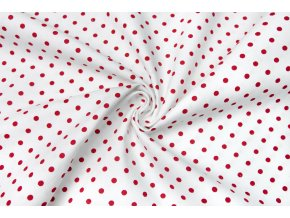 bavlnene platno cervene punticky na bile 0 5 cm