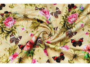 teplakovina kvety s motyli na horcicove