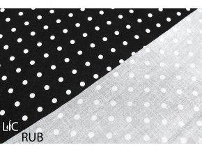 bavlna puntíčky bílé na černé