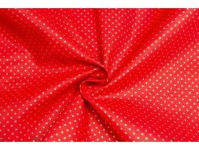 bavlnene platno zlate puntiky na cervene