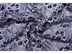 Krajka růžové květy na tmavě modré s oboustrannou bordurou