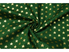 popelin zlate hvezdy na zelene