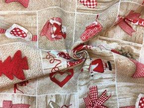 bavlna rezna vanocni ozdoby cervene