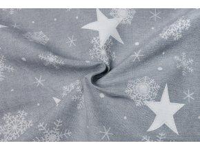 bavlna rezna hvezdy a vlocky na svetle sede