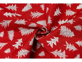 bavlna rezna stromecky na cervene