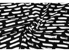 Bio bavlněný úplet bílé čárky na černé