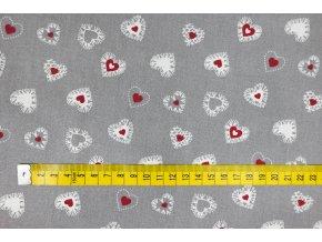 Bavlna bordo srdíčka na šedé