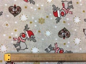 bavlna režná vánoční sobíci (2)