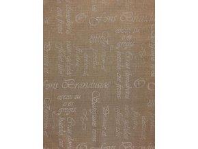 bavlna plátno bílé písmo na béžové 1