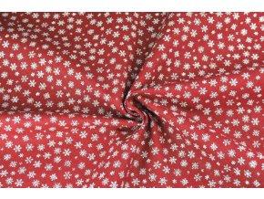 Bavlněné plátno bílé mini vločky na červené2