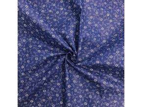 bavlna modrotis kvítky bílé