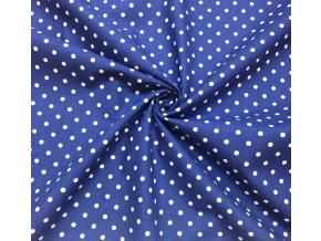 Bavlna puntíčky na modré 1