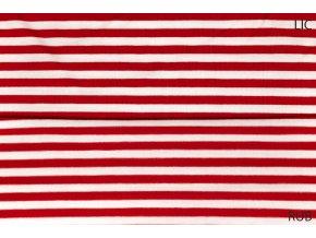 Bambusový úplet pruhovaný červeno bílý 0,5 cm (2)