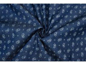 riflovina kosilova tmave modra s ornamenty