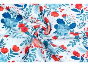 Bavlněný satén modré a červené květy 2