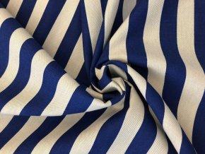 bavlna režná pruh modrý široký 1+