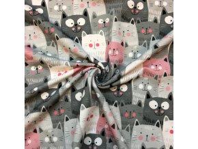 teplákovina šedé a růžové kočky 1