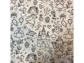 Bavlněné plátno na vybarvování princezny 1