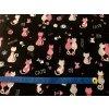 Bavlněné plátno růžovobílé kočky na černém3