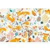 Bavlněné plátno lišky na bílé1