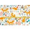 Bavlněné plátno lišky na bílé
