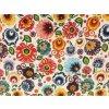 bavlnene platno neo folklorni kvety na bile rovne