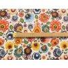 bavlnene platno neo folklorni kvety na bile