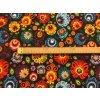bavlnene platno neo folklorni kvety na cerne metr