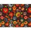 bavlnene platno neo folklorni kvety na cerne rovne