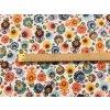bavlnene platno neo folklorni kvety na bile mensi metr