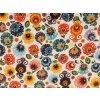 bavlnene platno neo folklorni kvety na bile mensi rovne