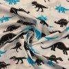bavlnene platno tyrkysovy a cerni dinosauri metraz