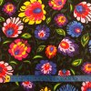 bavlnene platno pestre folklorni kvety na cerne