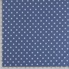 jednolici bavlneny uplet puntiky bile na modre jeans metr