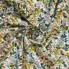 Bavlněné plátno žluté a lososové trsy květů na bílé3