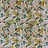 Bavlněné plátno žluté a lososové trsy květů na bílé