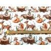 Bavlněný satén malovaná lesní zvířátka digi tisk