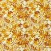 Bavlněný úplet abstraktní květy hořčicové