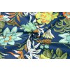 riflovina elasticka bavlna barevne kvety na tmave modre