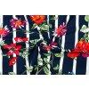 34521 1 viskozovy uplet barevne kvety na modrobilych pruzich
