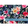 bio bavlneny uplet kvetinovy vzor na modre navy metr